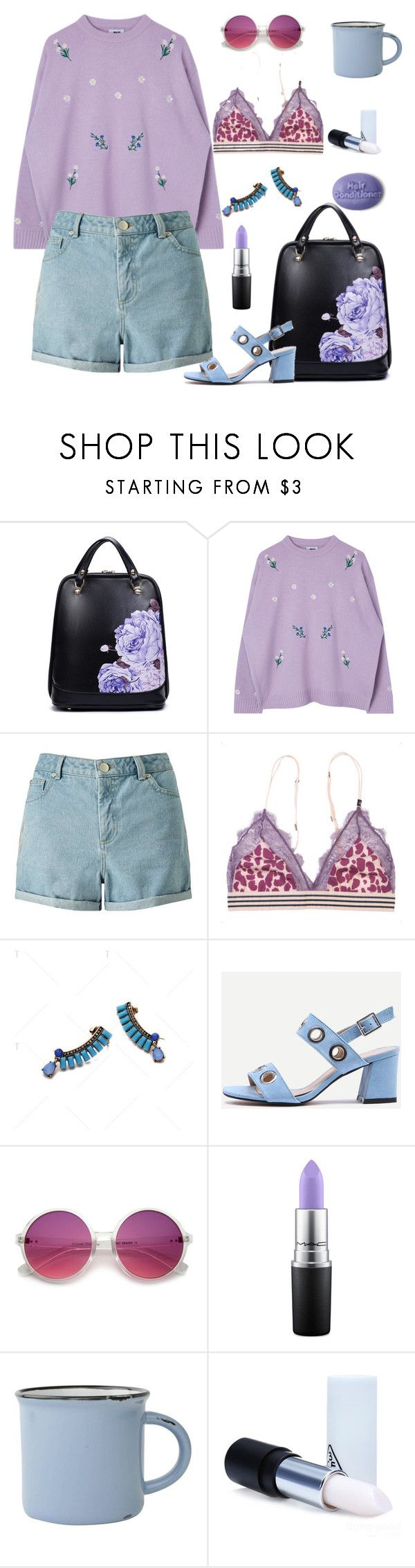 """""""floral bag"""" by lianafourmouzi ❤ liked on Polyvore featuring Miss Selfridge, LoveStories, MAC Cosmetics, canvas and 3 Concept Eyes"""