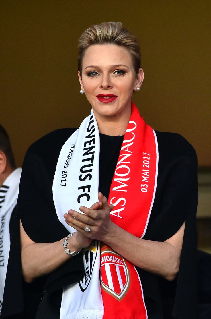 Charlene, Princess of Monaco and wife of Prince Albert II of Monaco claps as she attends the UEFA Champions League semi-final first leg football match Monaco vs Juventus at the Stade Louis II stadium in Monaco on May 3, 2017.