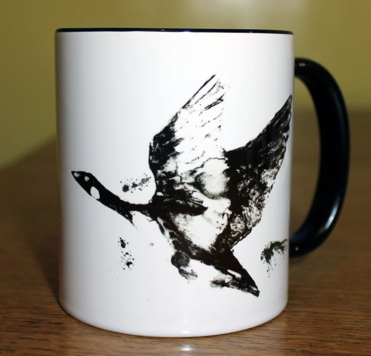 Goose Flying Tea Cup, Bird Coffee Mug, Birds and Nature, Animal gifts perfect for Christmas by Alex Jabore by AlexJaborePaintings on Etsy