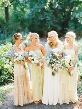bridesmaids  mix and match pastel boho long dresses Whimsical