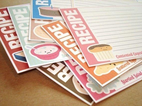 Cute Food Friends Printable Recipe Cards