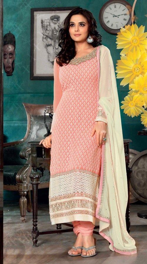 Peach Long Length Preity Zinta Salwar Kameez 3H920318