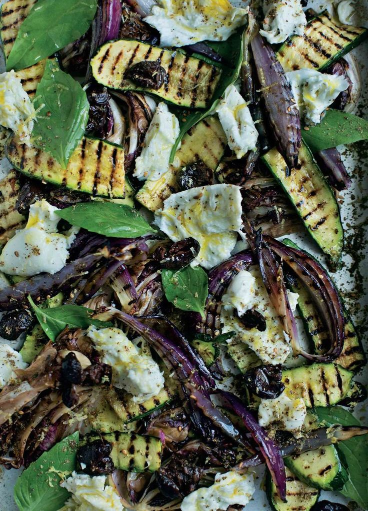 Grilled salad of courgette, radicchio, basil and mozzarella from Tom Hunt's The Natural Cook. Find it on Cooked.com