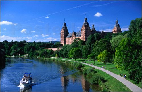 Renaissance Johannisburg Castle on banks of Main River in town of Aschaffenburg ... GermanySweets Home, Families Trips, Favorite Places, Beautiful Places, German Girls, Vikings Rivers Crui, Maine Rivers, Germany Living, Bavaria Germany