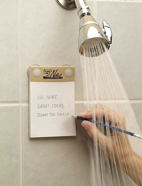 Hum...sounds good if it works...waterproof pad & pencil set  allows you to write while in the shower (suction cups also included) or any other wet area. Regular pencils also work on the special paper. Ideal if seeking rare gifts.: Showers, Stuff, Gift Ideas, Waterproof Notepad, Gifts, Things, Products