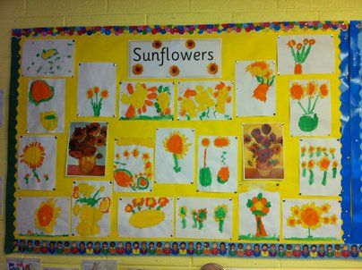 Sunflower Art Display, classroom display, class display, Plants, flower, growth, grow, planting, sunflower, Early Years (EYFS),KS1 & KS2 Primary Resources