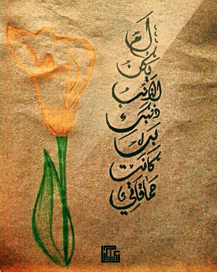 لم يكن الذنب ذنبک ، بل كانت حماقـااتي ! Calligraphy Arabic calligrapher