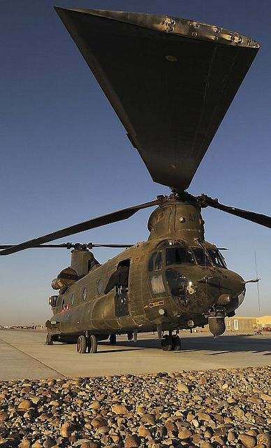 The Boeing CH-47 Chinook is an American twin-engine, tandem rotor heavy-lift helicopter. Its primary roles are troop movement, artillery emplacement & battlefield resupply. It has a wide loading ramp at the rear of the fuselage & 3 external-cargo hooks. The CH-47 is among the heaviest lifting Western helicopters. Its name is from the Native American Chinook people.