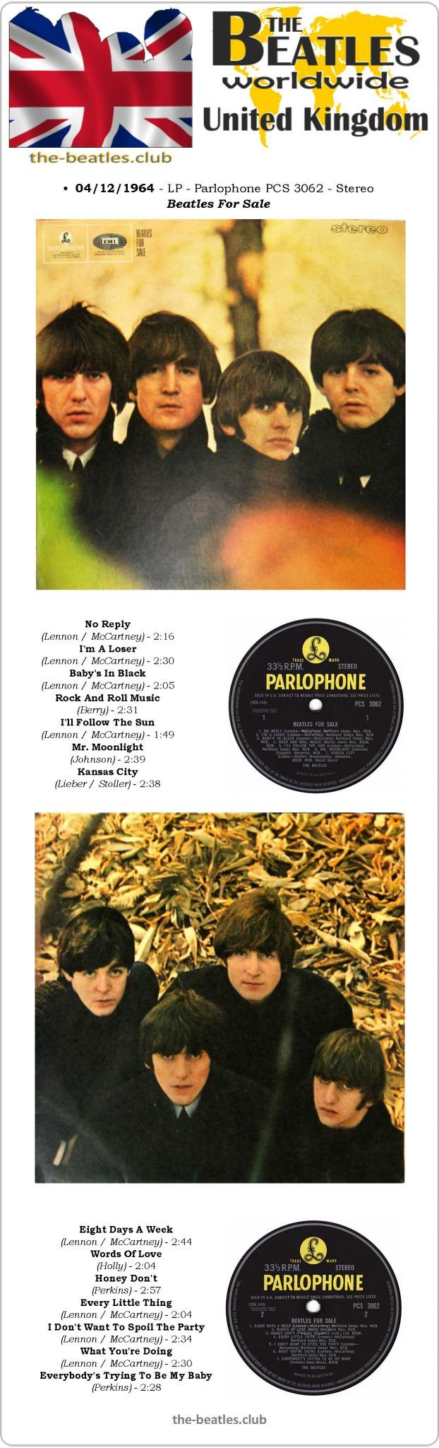 The Beatles UK LP Parlophone PCS 3062 Stereo Beatles For Sale Vinyl Record Long Play Discography