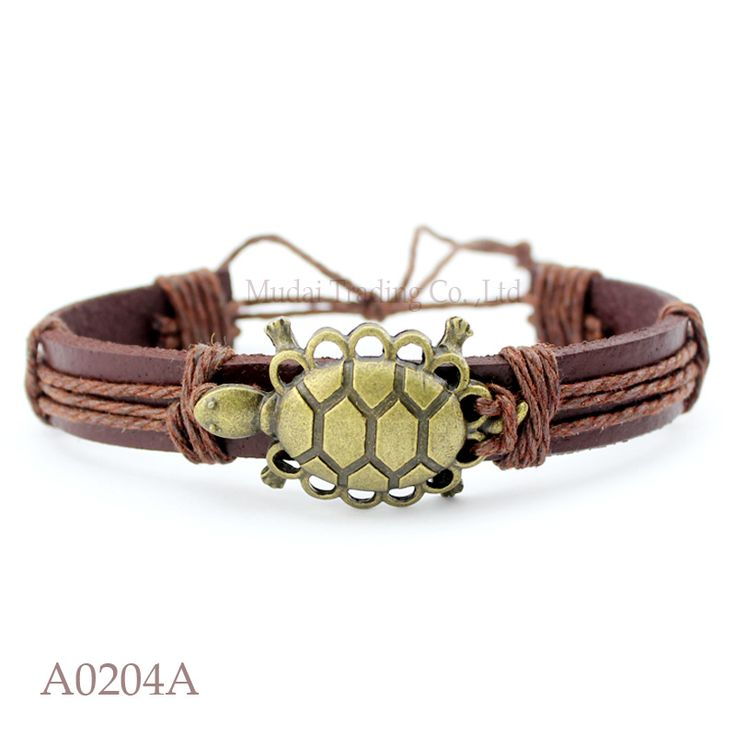 (10PCS/lot) ANTIQUE Brass Tortoise Turtle Terrapin Charm Adjustable Leather Cuff Bracelet Punk Casual Friendship Jewelry