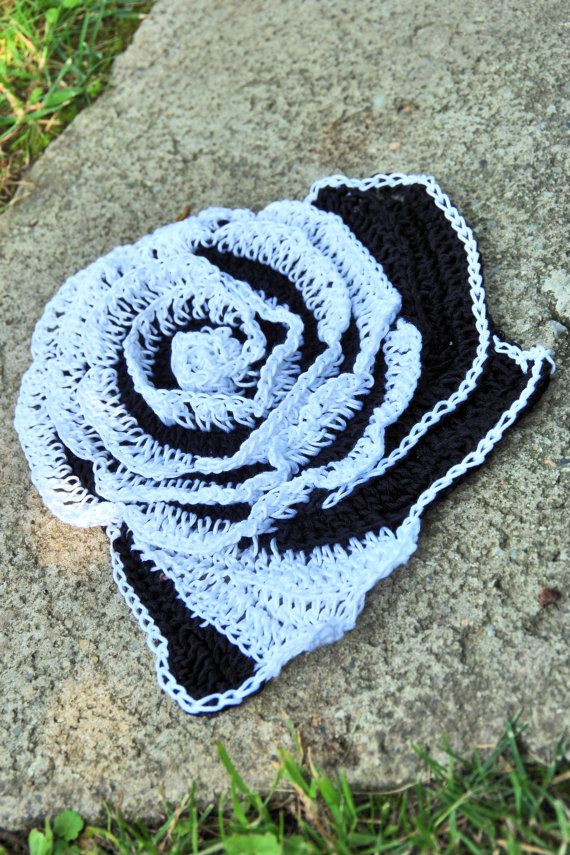 Crochet  rose Black White Cotton Freeform crochet  Women  Freeform Crochet Roses