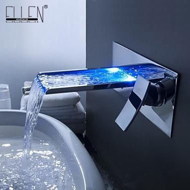 Shipping in 24 Hours Bathroom Mixer Tap Color Changing LED Waterfall Wall Mount Bathroom Sink Faucet Torneira cozinha - ICON2 Luxury Designer Fixures  Shipping #in #24 #Hours #Bathroom #Mixer #Tap #Color #Changing #LED #Waterfall #Wall #Mount #Bathroom #Sink #Faucet #Torneira #cozinha