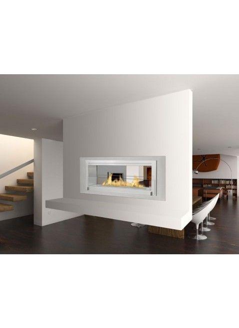 Love this 2-sided fireplace. Eco-Feu Santa Cruz 2-Sided Biofuel Fireplace.