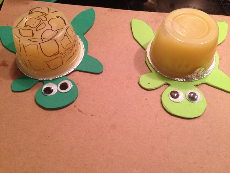 Safe to take to school for a birthday or special event : ) turtle body is just hot glued to the apple sauce lid!
