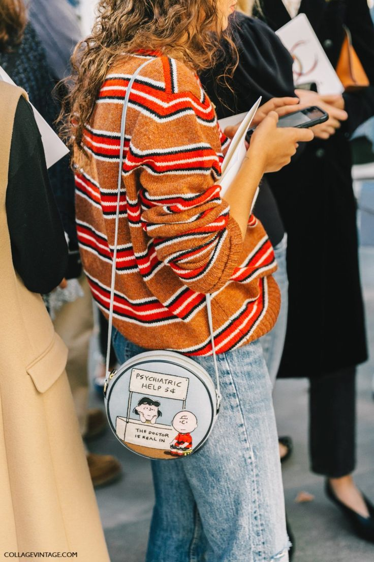 Street Style_ I LOVE PEANUTS! seen here accessorising a striped sweater and denim || Saved by Gabby Fincham ||