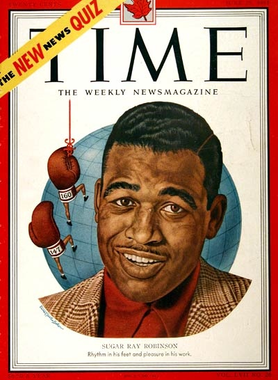 1951 original vintage Time magazine cover only featuring boxing legend Sugar Ray Robinson. Magazine not included. Illustrated in vibrant color.