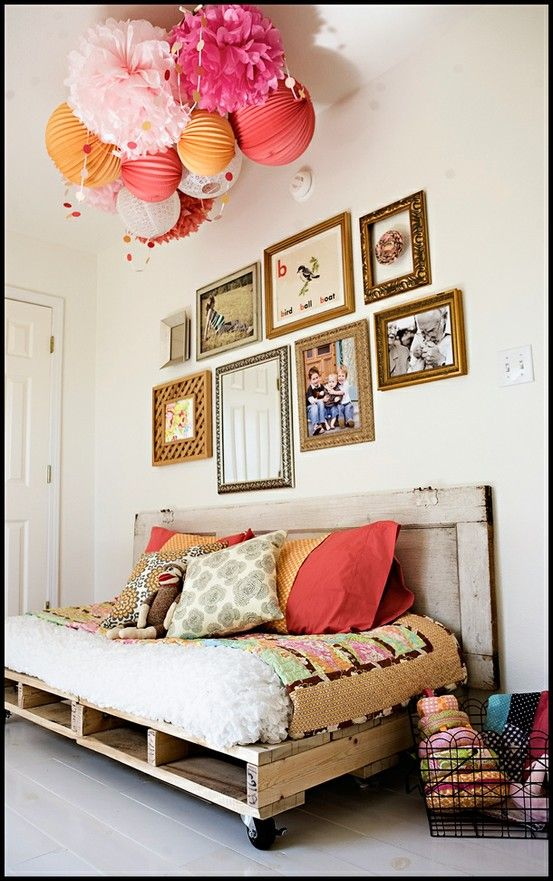 repurposed wooden pallets: Pallets Couch, Paper Lanterns, Pallets Daybed, Pallets Beds, Guest Rooms, Wood Pallets, Pom Pom, Old Doors, Pallets Day Beds