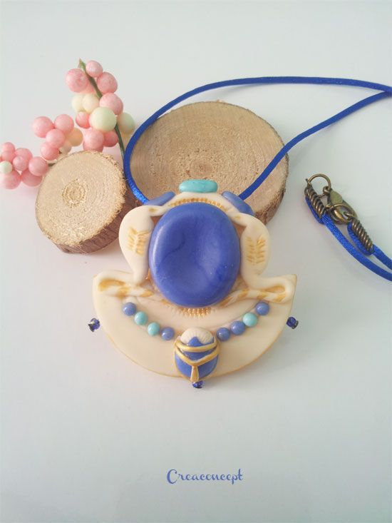 pendentif gyptien en porcelaine froide model main cr ation creaconcept http www. Black Bedroom Furniture Sets. Home Design Ideas