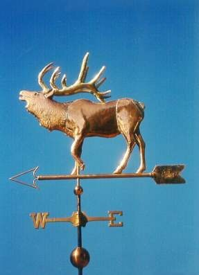 Elk Weather Vane, Bugling by West Coast Weather Vanes.  Our Elk Weathervane (also known as a Wapiti Weathervane) is one of most popular wild animal weathervanes. These weathervanes have a very distinctive profile against the skyline which is instantly recognizable, even from a distance. We normally make our Elk weather vane with a copper body with brass or optional gold leafed antlers and target (rump, tail area).