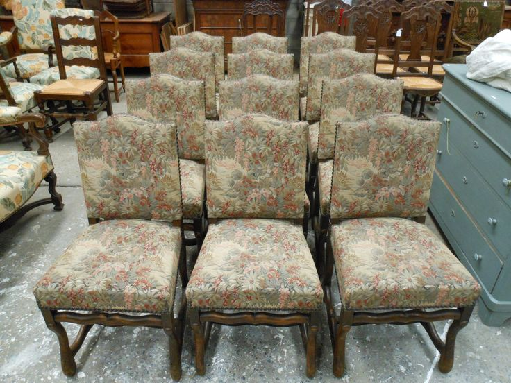 Vintage French set of 12 Tapestry covered dining chairs