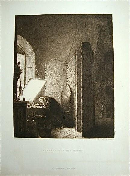 Vintage Rembrant In His Studio Etching by vinestreetvintage