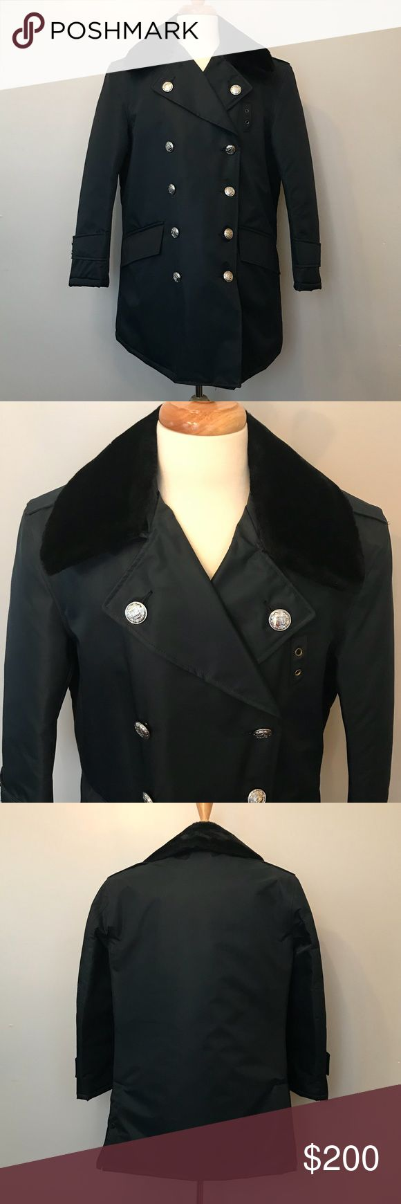 """New Nylolite by Blauer Navy Parka FD Deadstock Vintage Nylolite by Blauer Men's Parka Navy Blue with Silver Buttons Faux Fur Removable Collar Buttons say """"FD"""" Unworn Size 40S 23"""" underarm to underarm measured flat  33"""" long shoulder to hem Nylolite by Blauer Jackets & Coats"""
