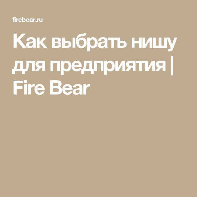 Как выбрать нишу для предприятия | Fire Bear