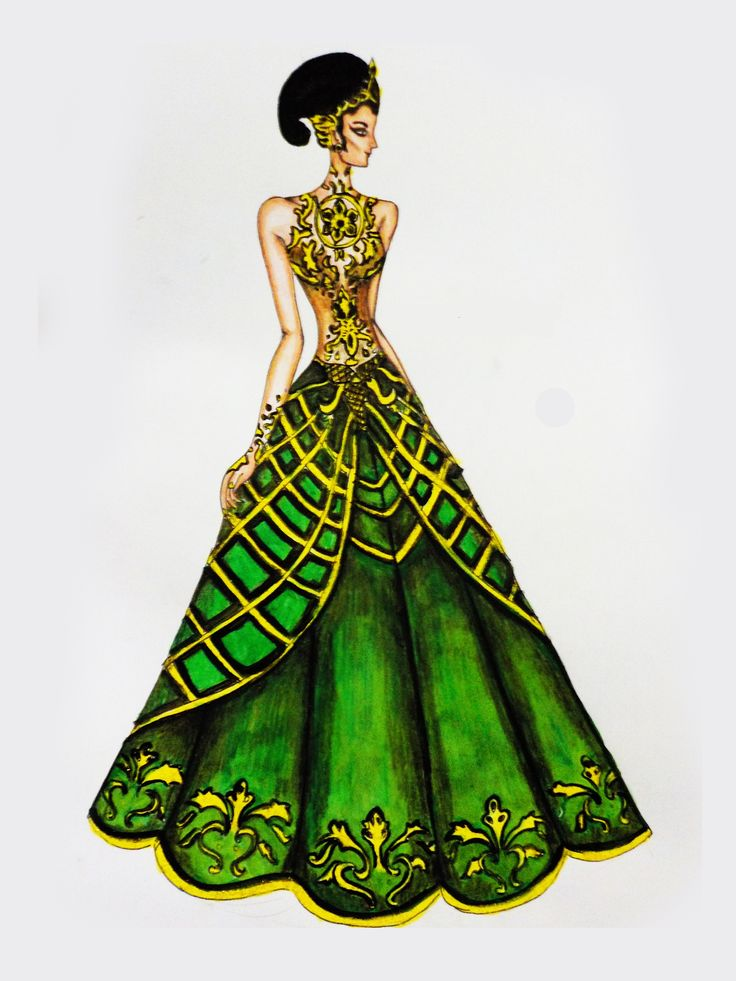 Inspired from Kecirebonan Palace, the palace have dominant green color, and have royal insignia 3 fish(at stomach), then have pattern unique and i apply at design. #fashion #fashion illustration #fashion design #illustration #fashion sketch #Fashion sketches