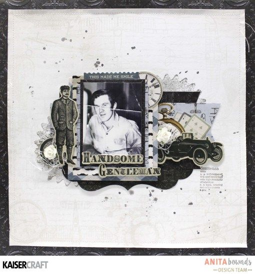 'Handsome Gentleman' Layout By Anita Bownds DT for Kaisercraft using 'Barber Shoppe' collection ~ Wendy Schultz ~ Scrapbook Layouts.