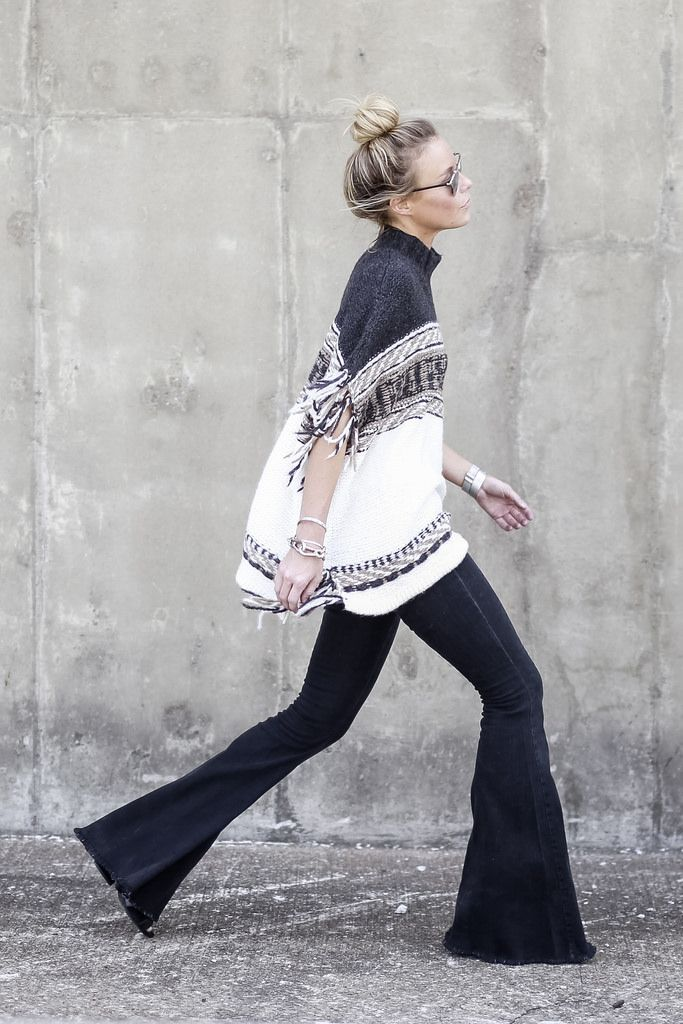 We're falling in love with flares this fall. For serious boho vibes, pair them with a fringed poncho.