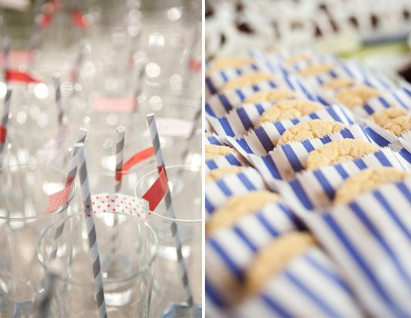 coral blue and gray stripes wedding ideas for food and drinks