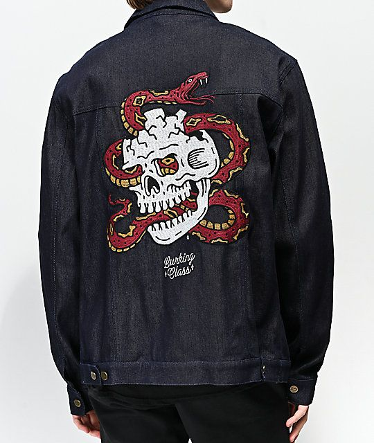 db9e1a90 Lurking Class By Sketchy Tank Surrender Dark Blue Denim Jacket in ...