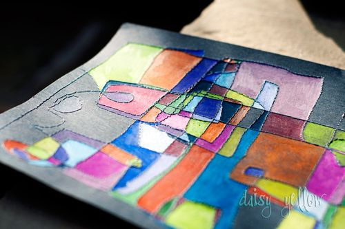 Love this: stitching and colored pencil