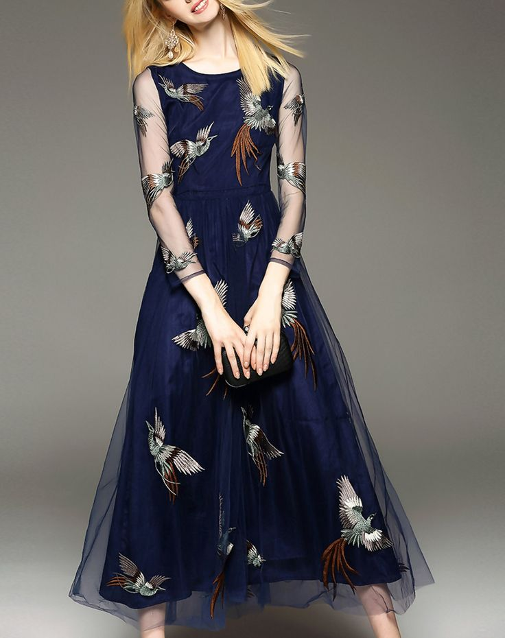 Check the details and price of this Bird Embroidered Sheer Long Sleeve Maxi Dress (Navy Blue, Elenyun) and buy it online. VIPme.com offers high-quality Day Dresses at affordable price.