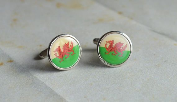 Red Dragon vintage cufflinks  Welsh traditional Dragon