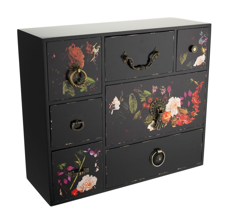 With dark florals and vintage-style handles, this set of drawers is a glamorous jewellery box alternative. Priced at £26