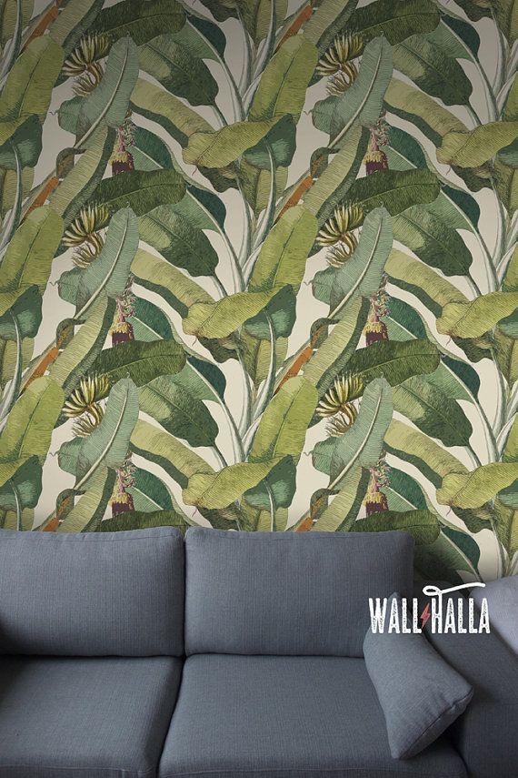 Seamless Self Adhesive Banana Tree Leaf Pattern Wallpaper - Removable Vintage Wall Decals - Banana T