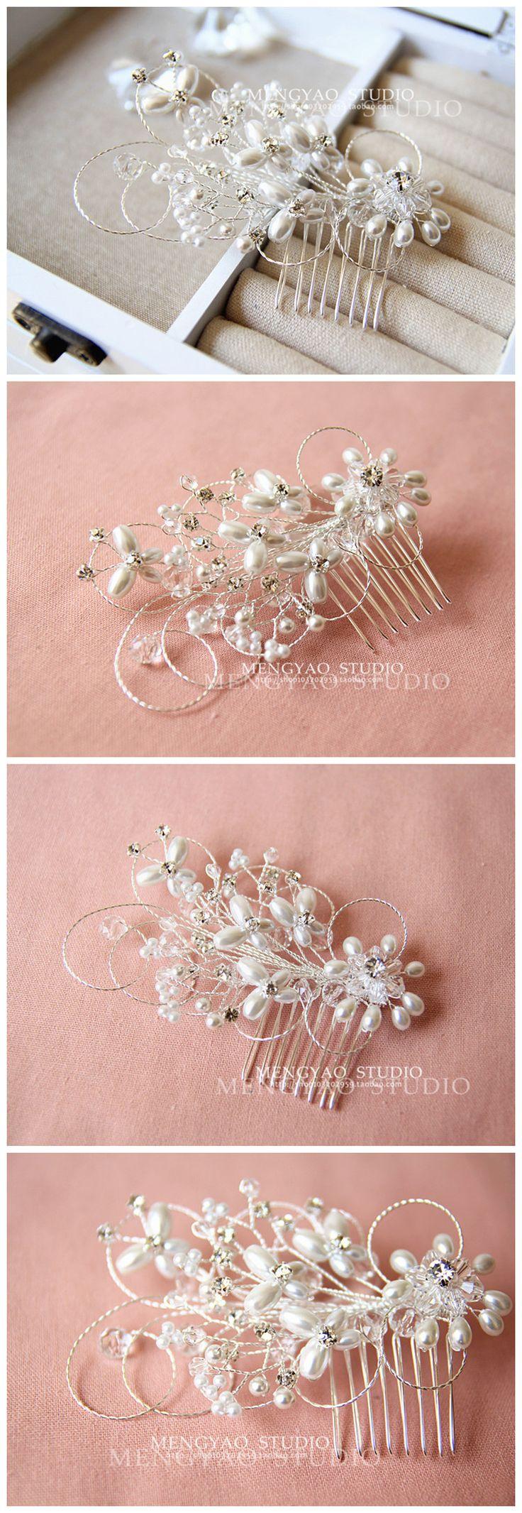 Акиба Мэн руководство струнные цветы в Европе и Америке красивый кристалл жемчужина свадебный головной убор пластины волосы расческой свадьбы с аксессуарами - Taobao