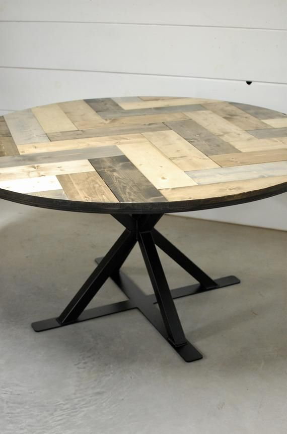 Industrial Round Wood Dining Table Herring Bone Round Dining Table Round Wood Table Rustic Dining Table Wood Furniture Modern Dining Round Wood Table Wood Table Modern Round Wood Dining Table