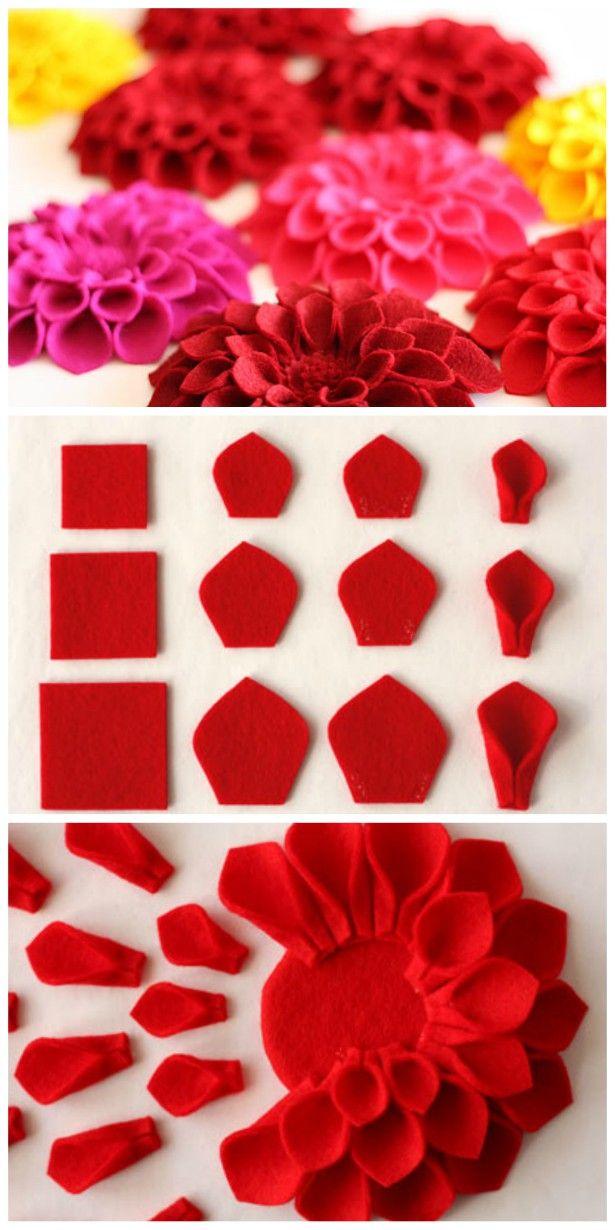 Dahlia Felt Flower Tutorial Easy Video Instructions – Esther Rankin