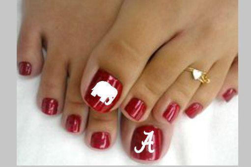 Toe nail decals, Alabama Toe nail decal, Crimson Tide Toe nail art, Alabama nail decal, Toenail designs, Nail Art, Nail Decals by 256VinylDesigns on Etsy