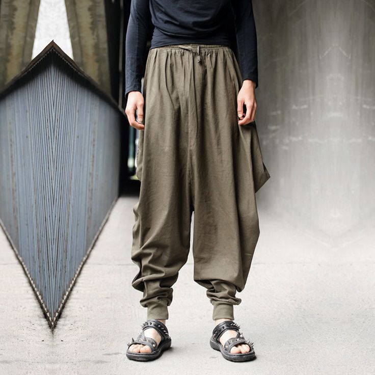 Find More Casual Pants Information about Men Women Japanese Samurai Style Boho Casual Low Drop Crotch Loose Fit Harem Baggy Hakama Capri Cropped Linen Pants Trousers,High Quality trouser jeans for men,China trousers men Suppliers, Cheap pants male from Bing fashion Co.  on Aliexpress.com