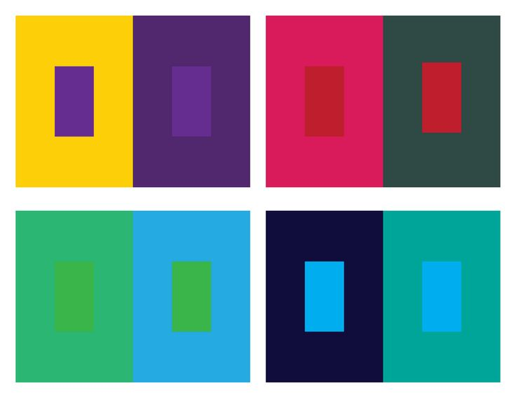 Color Interactions- Influence  *Color is the most relative element in art.  *Certain colors are hard to change, others are more susceptible to change.  *Identify colors that are more inclined to exert influence for your background colors.  *Distinguish these from colors that will accept influence (for your smaller rectangles)