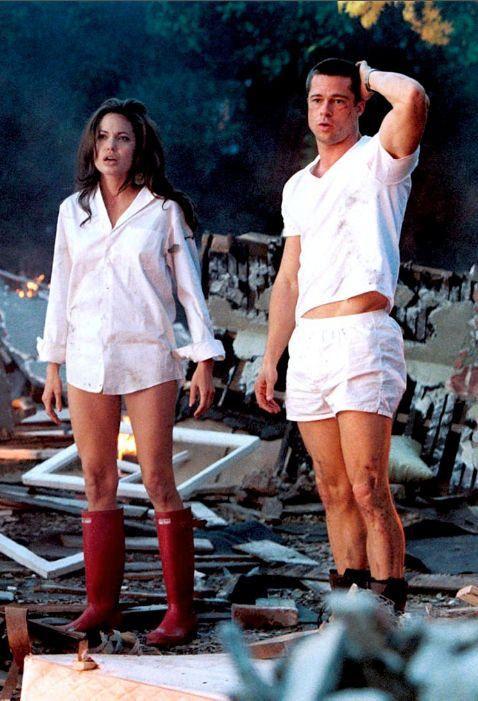 Angelina Jolie & Brad Pitt; Mr. and Mrs. Smith One of my favorite movies.