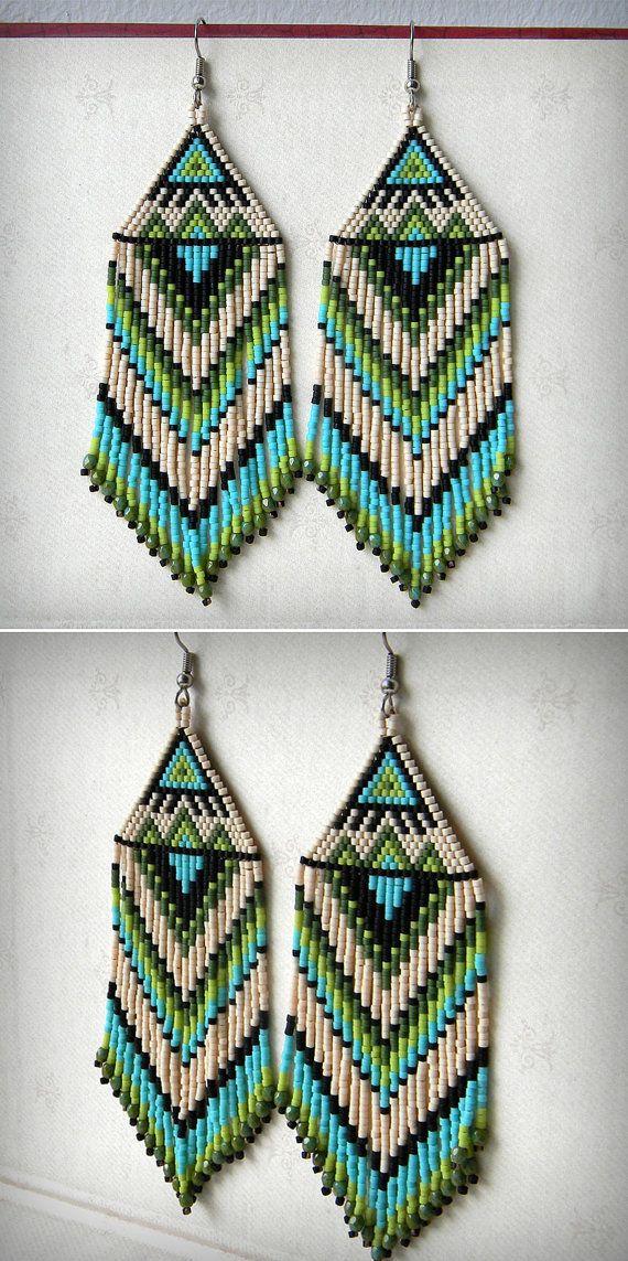 Beautiful large beaded earrings with fringe. My original ...