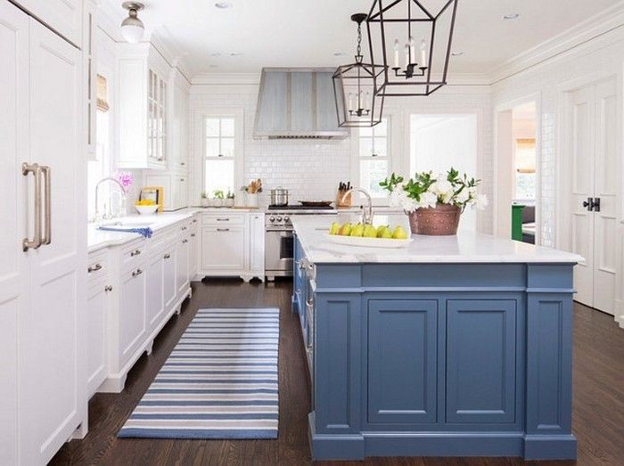 designer küchen kücheneinrichtung schöne küche blau weiß teppich - teppiche für die küche