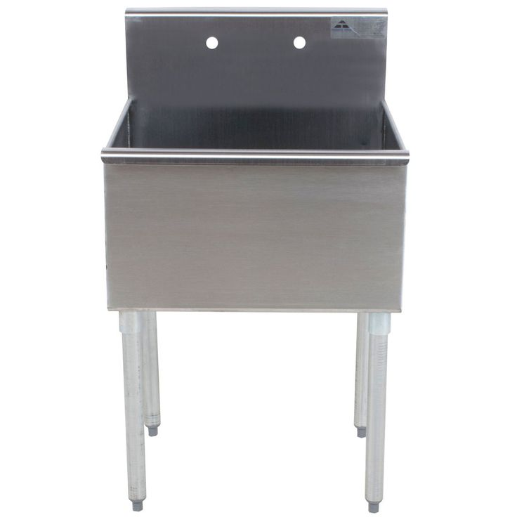 "Advance Tabco 6-1-36 one compartment stainless steel commercial sink  8"" high backsplash with two holes punched on 8"" centers to accommodate a faucet (sold separately). The front also has a 1 1/2"" rolled edge"