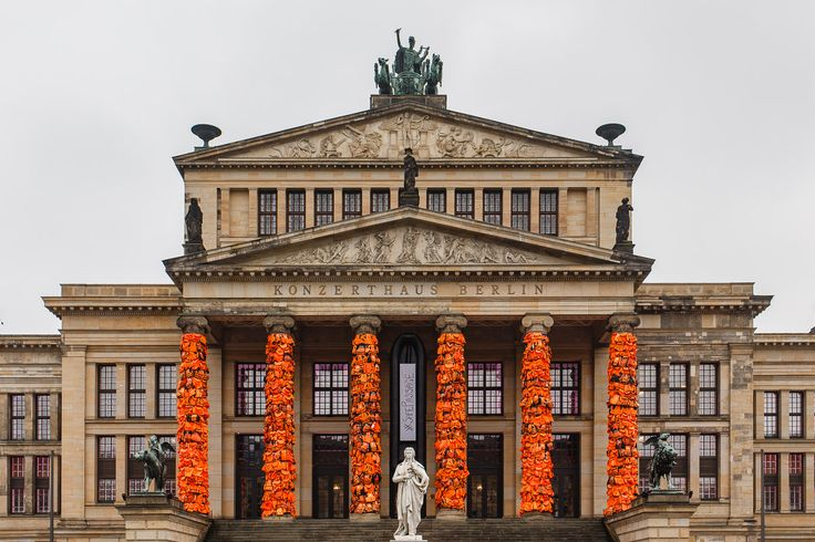 Ai Weiwei covers Berlin's concert hall in refugee life vests