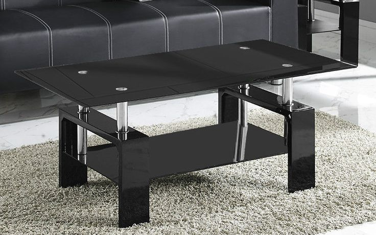 New Coffee Table Black or Clear Glass White Black Red Walnut Legs with Chrome in Home, Furniture & DIY, Furniture, Tables | eBay