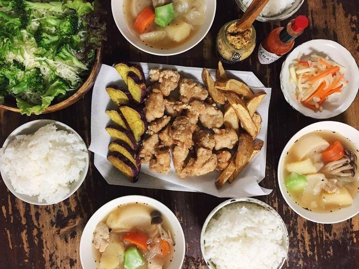 10.16 から揚げ さつまいもとじゃがいもの素揚げ、野菜たっぷりポトフ、サラダ、大根と人参のピクルス、ごはん  #おうちごはん #晩ごはん #rocoごはん #から揚げ #sensdemasaki  #lin_stagrammer #deristagrammer #デリスタグラマー #クッキングラム